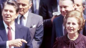 'Ronald Reagan and Margaret Thatcher in 1982' from the web at 'http://ichef-1.bbci.co.uk/news/304/cpsprodpb/18423/production/_87436399_reaganthatcher_bbc.jpg'