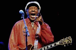 Chuck Berry performing during a concert in Montevideo, Uruguay, on 15 April, 2013