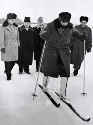Fidel Castro esquiando en Moscú