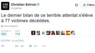 Tuit de Christian Estrosi