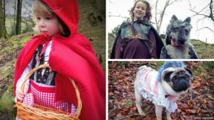 children dressed up as Red Riding Hood characters for World Book Day