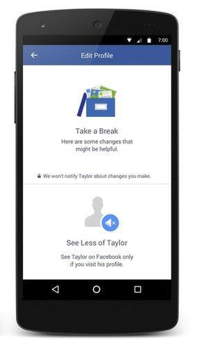 screenshot of Facebook's new options