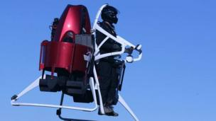 'Man operating Martin Aircraft jetpack' from the web at 'http://ichef-1.bbci.co.uk/news/304/cpsprodpb/68CF/production/_86613862_jetpack-2.jpg'