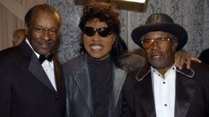 Musicians Chuck Berry (left), Little Richard (centre) and Bo Diddley attend the 50th Annual BMI Pop Awards May 14, 2002 in Beverly Hills, CA