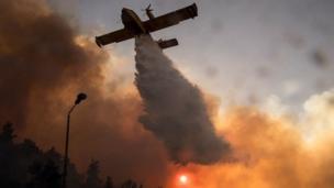 İsrail'de bir yangın söndürme uçağı