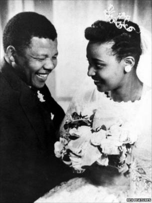 The Mandelas on their wedding day