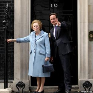 British Prime Minister David Cameron greets former Prime Minister Baroness Thatcher on the steps of Number 10 Downing Street on June 8, 2010 in London, England