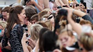 The Duchess of Cambridge with crowds in Canada
