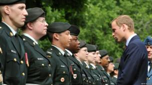 The Duke of Cambridge inspects the honour guard during an official welcoming ceremony in Ottawa, Canada
