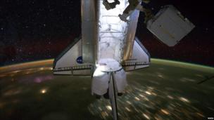 Space shuttle Endeavour is docked to the International Space Station