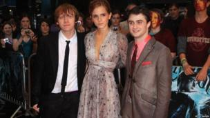 Rupert Grint, Emma Watson and Daniel Radcliffe arrive for the World Premiere of Harry Potter And The Half Blood Prince at Empire Leicester Square on July 7, 2009 in London, England