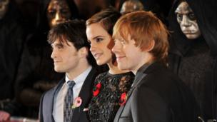 Daniel Radcliffe, Emma Watson and Rupert Grint attend the Harry Potter And The Deathly Hallows: Part 1 World film premiere at Odeon Leicester Square on November 11, 2010 in London, England