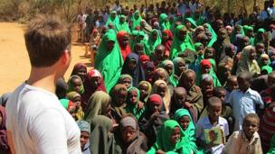 Ricky at a school in Dadaab