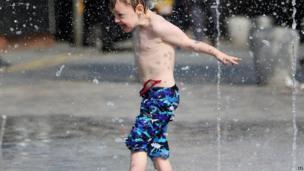 Brendan cooling off in some water in Folkestone.