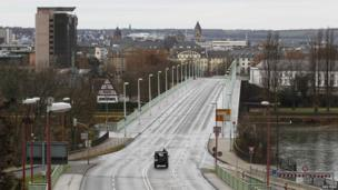 The empty Pfaffendorfer Bridge across the Rhine in Koblenz, Germany, on 4 December 2011
