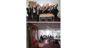 The students at Herne Bay High School wave to the camera (above) and a snap of the guys in the class room working hard (below).