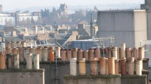 Chimney pots on roof tops
