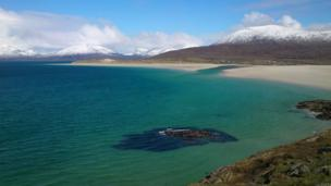 Snow on the hills on the Isle of Harris