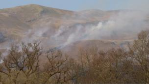 Smoke coming off the hills above Dalmally, Argyll