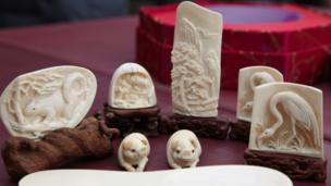 Ornaments carved from legal ivory