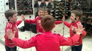 Struan looking in a mirror