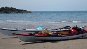 Canoes on a beach