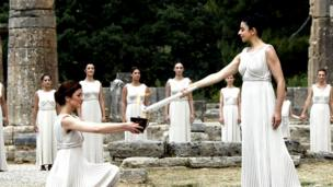 The Olympic flame is lit in Greece.