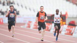 The boys 100m final at the School Games