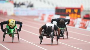 Sheikh Sheikh competes in both the wheelchair finals