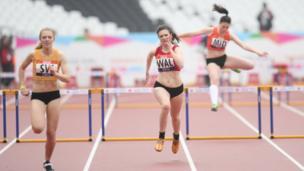 Girls hurdles in the School Games