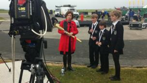 School Reporters and the BBC's Jane Hill in Cornwall
