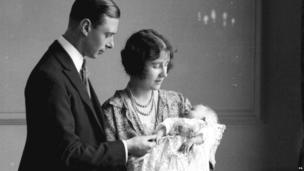 MAY 1926 The Duke and Duchess of York with their eldest baby daughter Princess Elizabeth, now the Queen, at her christening.