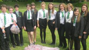 Pupils from Catmose College litter picking