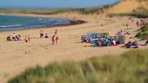 People on Fraserburgh Beach