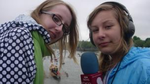 School Reporters on Chelsea Bridge during the Thames Pageant