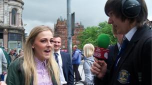 School Reporter interviews a member of the public