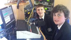 School Reporters on board the BBC Bus