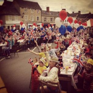 Street party, Fairford, Gloucestershire, England