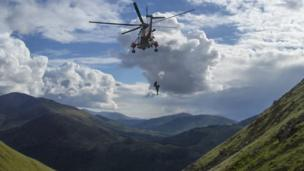 Royal Navy rescue helicopter on Ben Nevis