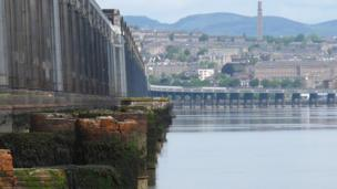 Tay Rail Bridge with Dundee in the background