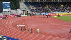 Mo Farah in action at Crystal Palace