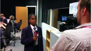 School Reporter does a piece to camera