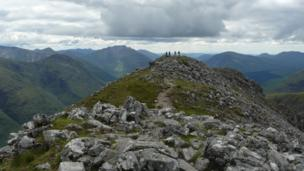 People on Stob Dubh on Buachaille Etive Beag