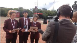 School Reporters outside the Riverside Stadium ahead of the press conference