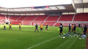The players train at the Riverside