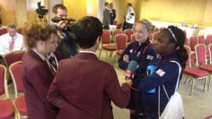 School Reporters interviewing Kim Little and Eniola Aluko
