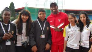 School Reporters at Alexandra Stadium with Michael Tinsley