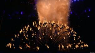 Flames on 204 individual petals representing each country participating at the Olympics