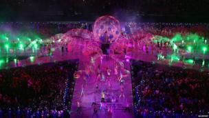Performers at the London 2012 Olympics closing ceremony