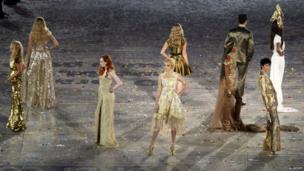 British models at London 2012 Olympics closing ceremony